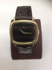 VINTAGE FINE 18K YELLOW GOLD BAUME & MERCIER TIGER EYE  DIAL WATCH
