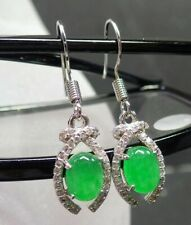 Green Jade Cabochon Imitation Diamond White Gold Plated Hook Dangle Earrings