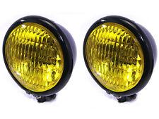 """4.75"""" 120mm noir bates style e-marqué jaune métal phare pour voitures classiques"""