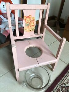 Antique Wooden Potty Chair Toilet Trainer w/Glass Bowl