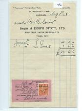 EPHEMERA -046- SMALL- JOSEPH STOTT LTD, ROCHDALE - PRINTERS  - STMT - AUG 1948
