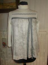Tunique tee-shirt COP COPINE FORAKER T.1 34/36 beige imprimé gris manches 3/4