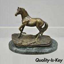 "Bronze 8"" Small Horse Statue Sculpture on Green Marble Base Equestrian"