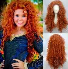 Fashion Brave Merida Costume Wig Curly Wavy Orange Hair Cosplay Party Long Wig**