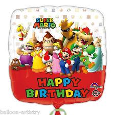 """18"""" Super Mario Bros Wii Niños Feliz Cumpleaños Fiesta Foil Balloon Cuadrado"""