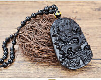natural obsidian dragon necklace handmade beaded chain man boy necklace lucky