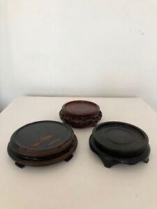 Vintage Carved Wood - Round Display Stand Pedestal Base x 3