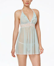 Betsey Johnson Women's Eyelet Mesh Babydoll with G-String in Betty Blue, XS