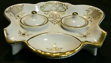 Vintage White Andrea Porcelain Double Inkwell Japan Gold Accents Excellent Cond