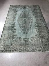 Antique Gray Overdyed Turkish Carpet,Floor Bohemian Vintage Rug,Handwoven Rug
