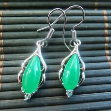 Best Gp Alloy &Natural Jade Elegant Women Lucky Dangle Earrings 36*9mm