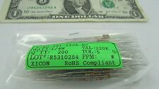 200 Carbon Film Resistor 220K Ohm 1/4 Watt 5% 250V Axial Solder Lead 291-220K-RC