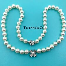 Tiffany & Co. Floret Flourishes Collection Pearl Platinum and Diamond Necklace