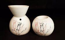 Duftlampe und Teelichthalter Aromalampe Porzellan Geschenkset Duft Set edle weiß