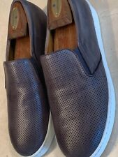 MAGNANNI 'BOLTAN' MENS PERFORATED LEATHER GRAY LOW TOP SLIP ONS US SIZE 9/ EU 42
