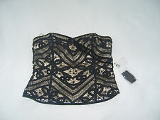 Nearly New Coast Black lace and gold satin style bustier top
