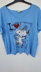 Snoopy, Damen, Shirt, Big Shirt,  Blau, Größe 52/54, mit Snoopy Motiv