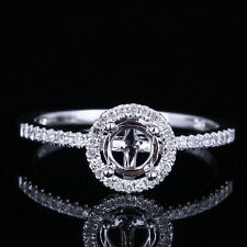 Diamonds Setting Engagement Semi Mount Fine Ring 5mm Round Solid 10K White Gold