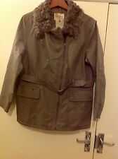 Indigo Collection Grey Faux  Leather Jacket With Fur  Collar & Belt Size: 18