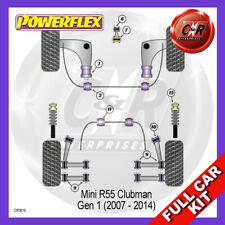 Mini Clubman 07-14 FrArmRrBushes Caster, RrTrailArm FrInserts Powerflex Full Kit