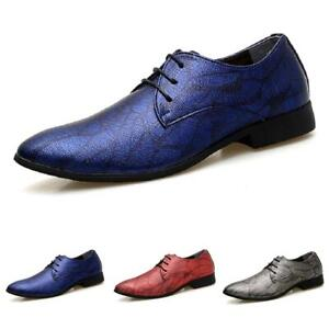 Mens Pointy Toe Formal Shiny Nightclub Lace Up Party Casual Dress Leather Shoes