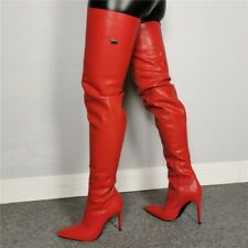 Ladies Over Knee Thigh High Boots Pointed Toe Stiletto Heels Knight Boots Shoes