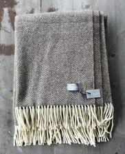 Tessile Chiti Italy Wool Blend Throw - Brown Herringbone, Cream Fringe – New