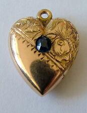 Antiguo Oro Rosa Victoriana 9ct & Zafiro Colgante de corazón hinchado encanto