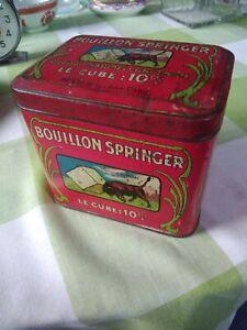 Boite Tôle Publicitaire Lithographiée Bouillon Cube kub Springer  Taureau