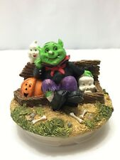 Halloween Candle Jar Lid Graveyard Goblin Pumpkin Ghost Skull Fall Decoration