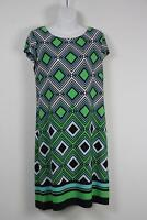 Jessica Howard Dress White Green Black Cap Sleeve Womens New