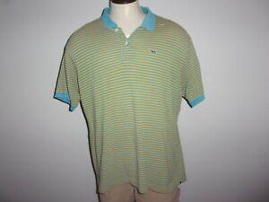 Men's LACOSTE Sz 9 US Sz 4X Blue & Gold Striped SS Mesh Polo Shirt