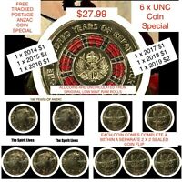 2014-2018 Australian $1 100 Years of ANZAC 2014-2018 - 6 x UNC Coin Special