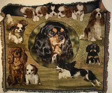 "Brand New `DOG Cavalier King Charles Spaniel` Tapestry Throw Blanket - 48"" X 60"""
