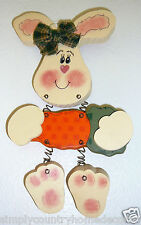 """New listing Bunny & Carrot Wood Wall Decor~Handcrafted~Handpai nted~9&1/2"""" By 5""""~Wiggles"""