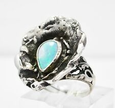 ANTIQUE STERLING SILVER OPAL RING HAND-CRAFTED RING SIZE 6
