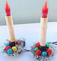 Vintage Christmas Candle Light Up Glass Bulb Tinsel Glitter Upcycled Electric 2