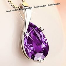 Xmas Gifts For Her - Silver & Purple Diamond Necklace Love Wife Mum Sister Women