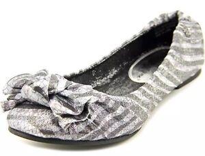 Sarah Jayne Cindy Girls Round Toe Canvas Silver Ballet Shoe Choose Your Size