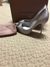 Women's gianvito rossi Crystal Embellished Gray Satin Heal Size 40