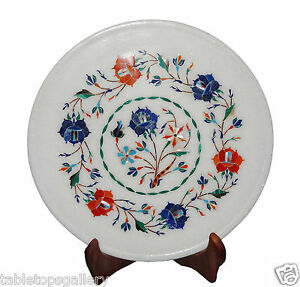 """9""""x9"""" Marble Serving Plate Lapis Carnelian Inlaid Stones Bad Room Decors H1308"""