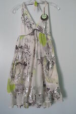 Eva Franco White/Silver/Green Floral Halter Tie, Pockets, Summer Dress NWT SZ: 0