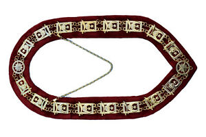Masonic Collar Shriners Dress Gold Metal Chain Red Velvet DMR-600GR