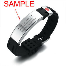 Emergency Men Medical Alert ID Tag Bracelet Silicone Bangle Wristband Adjustable