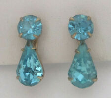 Vintage Aqua-Blue Rhinestone Earrings