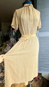 Vintage 1980s Tea Dress, 1940's Style, Belted, Brown, Size 10-14