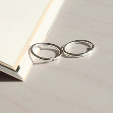 THE BEST Sterling Silver Small Thin Endless Hoop Earrings Round Chic E&P