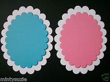 6 LARGE & 6 SMALL white/baby pink/baby blue scallop oval die cuts LAYERING
