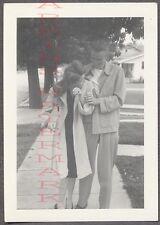 Unusual Vintage Photo Man & Camera Shy Girl w/ Pretty Hair 756151