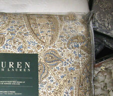 RALPH LAUREN Queen Comforter Set 4PC iNDIRA KHAKI PAISLEY blue cream